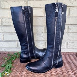 Tahari Leather Double Zip Andy Tall Riding Boots